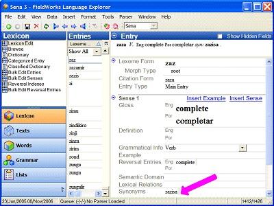 Screenshot of Lexical Relation Dialog