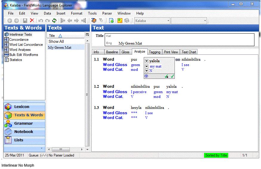 Interlinear - FieldWorks