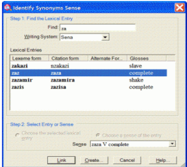 Screenshot of Lexical Relation Dialog