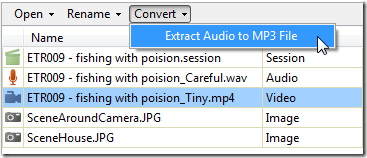Extract MP3 to audio file