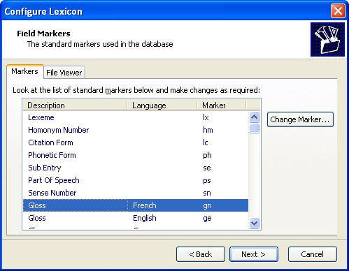 Configure Lexicon Wizard: Field Markers