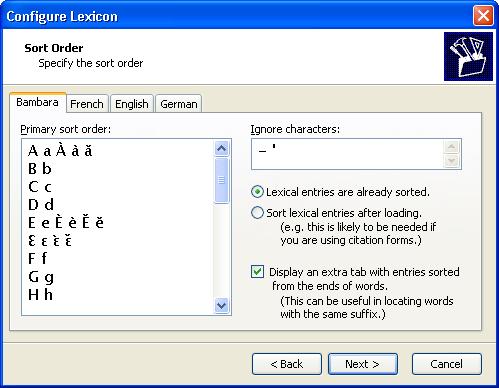 Configure Lexicon Wizard: Sort Orders & Upper-Lower Case Associations