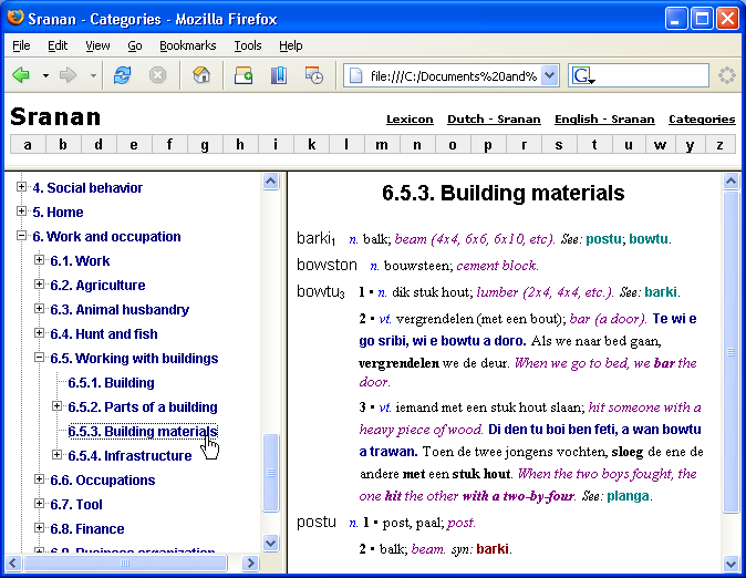 Lexicon exported to web page by categories